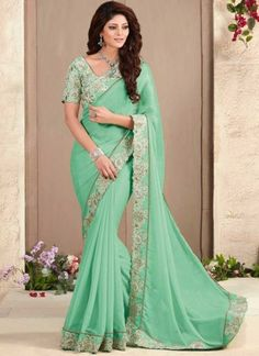 Turquoise Embroidery Cut Work Fancy Fabric Designer Fancy Sarees http://www.angelnx.com/Sarees/Designer-Sarees