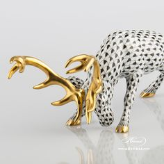 Attacking Deer - Herend Animal Figurine Black and Gold - old Herend style. 15592-0-00 VHNM - Black