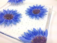 Cornflower Fused Glass Bowl by BlueFairyDesigns on Etsy, £45.00