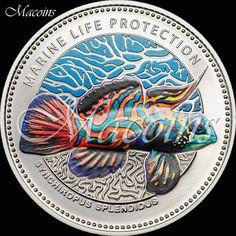 Marine Life Protection 2013 MANDARINFISH Palau 5$ Silver Proof Coin Coloured