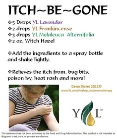 Essential Oils for Itch. For more information go to www.EssentialOilsEnhanceHealth.com