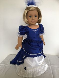 Royal Blue Dress with Headpiece fits American Girl Dolls by Bekysdollclothes on Etsy American Girl Doll Costumes, American Girl Dress, American Girl Clothes, Sewing Doll Clothes, Baby Doll Clothes, Victorian Dolls, Antique Dolls, Flower Girl Dresses, Doll Dresses