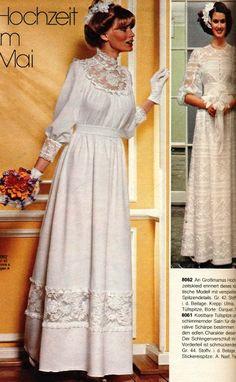Burda, 1978 Vintage Outfits, Vintage Dresses, Vintage Fashion, Modern Vintage Dress, Vintage Mode, 1970s Wedding Dress, Designer Wedding Dresses, Bridal Gowns, Wedding Gowns