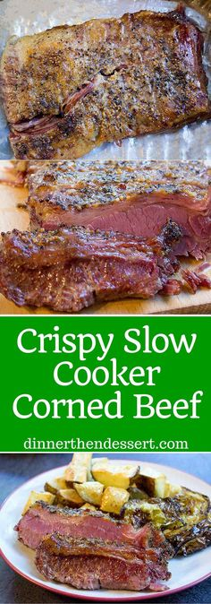 Crispy Slow Cooker Corned Beef with a crispy crust. No soggy Corned Beef, even from a slow cooker! Crispy Slow Cooker Corned Beef with a crispy crust. No soggy Corned Beef, even from a slow cooker! Corned Beef Brisket, Slow Cooker Corned Beef, Crock Pot Slow Cooker, Crock Pot Cooking, Cornbeef Brisket Crockpot, Beef Sirloin, Corned Silverside Slow Cooker, Slow Roasted Corned Beef, Corn Beef Brisket Recipe
