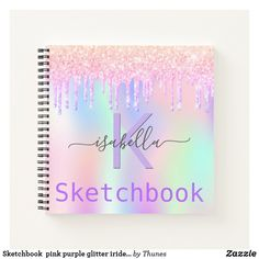 Sketchbook pink purple glitter iridescent name notebook Purple Glitter, Pink Purple, Notebook Covers, Monogram Letters, Color Names, Page Design, Rainbow Colors, Notebooks, Iridescent