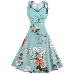 V-neck Floral Print Midi Swing Vintage Dress (225 GTQ) ❤ liked on Polyvore featuring dresses, calf length dresses, blue v neck dress, floral dresses, vintage dresses and vintage midi dress
