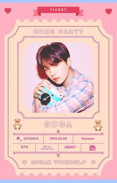 Bts Home Parties 31 Bags Bts Suga, Min Yoongi Bts, Bts Taehyung, Bts Tickets, Party Tickets, Bts Home Party, House Party, Vintage Wallpaper, Bts Wallpaper