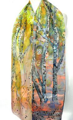 Birch Trees Scarf. Forest Silk Shawl Rainbow Dream. by TeresaMare