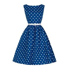 Blue Polka Dot A-Line Dress (31 BAM) ❤ liked on Polyvore featuring dresses