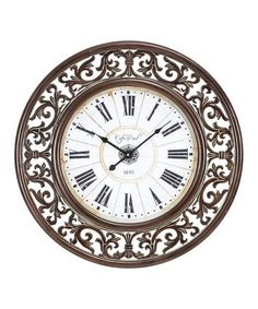 This Ornate Border Wood Wall Clock is perfect! #zulilyfinds
