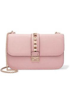 Valentino - Lock Medium Leather Shoulder Bag - Baby pink