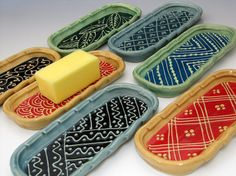 Really cool looking butter dish, or spoon rest, or olive dish ... many possibilities for use.  Love them.