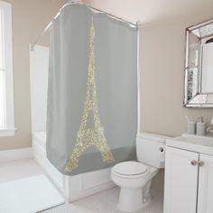 Eiffel Tower Paris Faux Glam Gold Gray Crystals Shower Curtain Custom Shower Curtains, Bathroom Shower Curtains, Fabric Shower Curtains, Paris Gifts, Curtain Designs, Powder Room, Bathroom Accessories, Swarovski Crystals, Tower