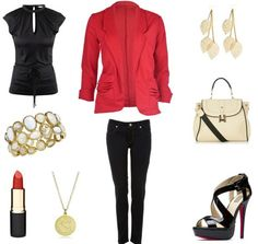 This look centers around the red blazer: This one is beautifully tailored and has interesting slouchy side pockets, which add a fun element to the traditional piece. Pair the jacket with black jeans and a silk blouse – the contrasting fabrics add dimension to this primarily black outfit. These strappy, Louboutin-esque platforms are absolutely to die for and will go with just about everything. Grab a white bag for contrast and complete the look with classic gold jewelry and a bold red lip.