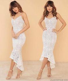 Pretty White Dresses, White Maxi Dresses, Simple Dresses, Short Dresses, Formal Dresses, Lace Dress With Sleeves, Lace Midi Dress, Civil Wedding Dresses, Modele Hijab