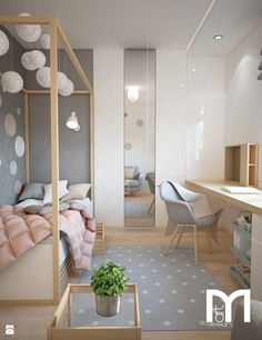 Pastel Colors Single Family Home Project – Scandinavian Style Child's Bedroom – Photo by Mart-Design Architektura Wnętrz by imkebouwman Home Bedroom, Girls Bedroom, Bedroom Decor, Bedrooms, Bedroom Ideas, Girl Rooms, Decor Room, Trendy Bedroom, Bedroom Colors