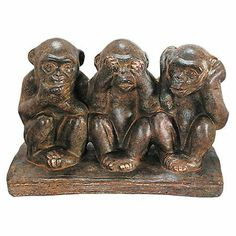 Joss and Main - Rustic monkey trio statuette. Product: Monkey decorConstruction Material: Resin and woodColor: BronzeDimensions: H x W x D Decorative Objects, Decorative Accessories, Monkey Decorations, Monkey Statue, Three Wise Monkeys, See No Evil, Monkey Business, Little Monkeys, Cute Creatures