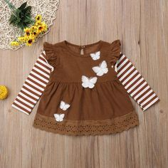 Butterfly Floats Striped Dress from kidspetite.com! Adorable & affordable baby, toddler & kids clothing. Shop from one of the best providers of children apparel at Kids Petite. FREE Worldwide Shipping to over 230+ countries ✈️ www.kidspetite.com #toddler #girl #dresses #clothing