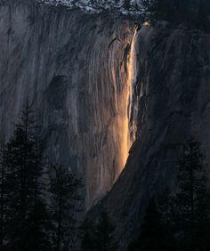 Sunset light makes water at Horsetail Falls look like fire. California USA [OC][1671x2000] via Classy Bro
