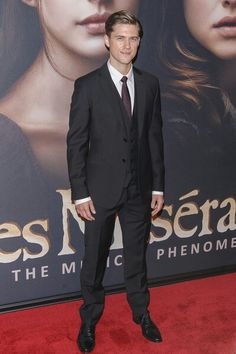 Aaron Tveit. in a suit. at the les miserable premier, and not realizing that he's a Disney princess.