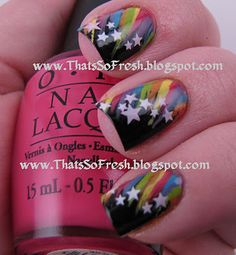 My nails will look like this for pride! Get Nails, Love Nails, How To Do Nails, Pretty Nails, Crazy Nails, Fancy Nails, Nail Art Designs, Uñas Fashion, Star Nails