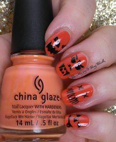 Halloween pumpkin faces manicure   Be Happy And Buy Polish http://behappyandbuypolish.com/2014/10/29/halloween-nail-art-challenge-pumpkin-faces/