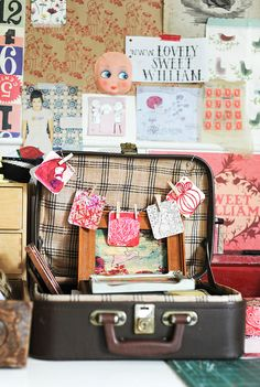 Heart Handmade UK: Vintage Styling and an Eclectic Home from Paula Mills Sewing Art, Sewing Rooms, Sewing Crafts, Cardboard Suitcase, Vintage Suitcases, Space Crafts, Craft Work, Crafty, Creative