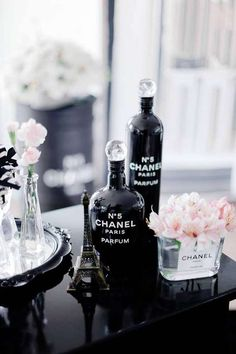 Decor at a Chanel birthday party! See more party ideas at CatchMyParty.com!