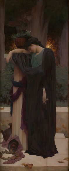 Lachrymae  Frederic, Lord Leighton  (English, Scarborough 1830–1896 London)    Date:      ca. 1894–95  Medium:      Oil on canvas  Dimensions:      62 x 24 3/4 in. (157.5 x 62.9 cm)  Classification:      Paintings  Credit Line:      Catharine Lorillard Wolfe Collection, Wolfe Fund, 1896  Accession Number:      96.28    This artwork is not on display