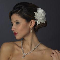 Pearl & Crystal Rhinestone Bridal Flower Hair Clip