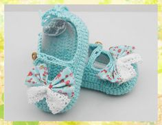 High Quality Handmade Blue Crocheted Baby Shoes with Bowtie for Newborn Baby as Shower day gift(LS2). $7.29, via Etsy.