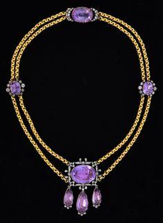 Victorian amethyst and diamond set pendant necklace, the principle stone estimated at 18.81 carat