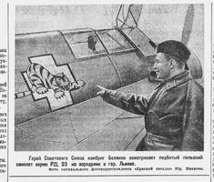 Soviet brigade commander Belyakov inspects stricken Polish plane. Lwow, 1939