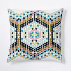 Embroidered Mosaic Tile Pillow Cover - Pink Flamingo #westelm