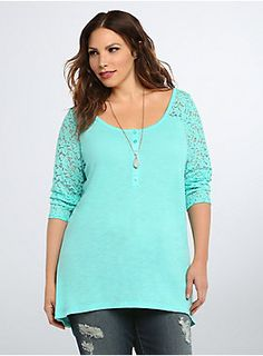 "<p>Tomboy flavor + racy lace = this ""go-with-anything"" tee. The mint green henley body is loose and lightweight, the subtle hi-lo hem lending a flowy boost. A lace inset along the shoulders and back take this from weekday-worthy, to weekend-winner.</p>  <p> </p>  <p><b>Model is 5'9.5"", size 1</b></p>  <ul> 	<li>Size 1 measures 29 3/4"" from shoulder</li> 	<li>Polyester/rayon/nylon/spandex</li> 	<li>Wash cold, dry low</li> 	<li>Imported plus size tee</li> </ul>"