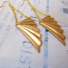 Art Deco Inspired Brass Wing Earrings by kellyssima on Etsy