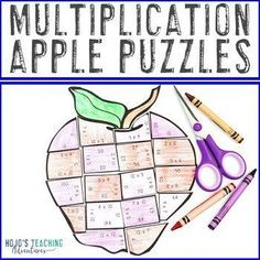 MULTIPLICATION Apple Activities | Fall Math Games to use with Johnny Appleseed | 3rd, 4th, or 5th grade - third, fourth, fifth graders - Year 3, 4, 5 Tree Life Cycle, Apple Life Cycle, Apple Activities, Fun Math Activities, 5th Grade Classroom, Special Education Classroom, Maths Puzzles, Critical Thinking Skills, Guided Math