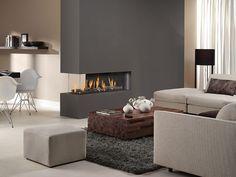 Comfortabel met aardgas | Compleet Haarden Modern Electric Fireplace, Electric Fireplaces, Modern Fireplaces, Gas Fireplace, 3 Sided Fireplace, Fireplace Lighting, Fireplace Ideas, Piece A Vivre, Beautiful Living Rooms
