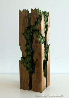 TANAKA Keisuke: While representation of figure has long been a central interest in wood sculpture, Keisuke Tanaka creates sceneries of forests and mountains in his sculpture. These sceneries are carved in wood pieces that were once a part of these sceneries.