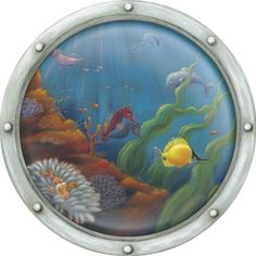 """Jungle Animals Wall Stickers - Porthole Wall Decal (36"""") - Ocean and Tropical Fish - Large Self-Adhesive, Removable Wall Art for Kids"""