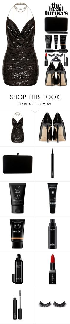 """""""03"""" by takenwithpizza ❤ liked on Polyvore featuring Jimmy Choo, MAC Cosmetics, NARS Cosmetics, Dermablend, Laura Geller, Smashbox, Battington and Design Letters"""