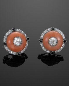 Art Deco Coral, Diamond, and Onyx Button Earrings, circa 1920s