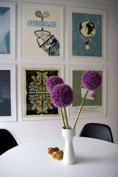 Sneak Peek: Rion Nakaya. Poster collection with Saarinen Tulip dining table. Hackney, London.