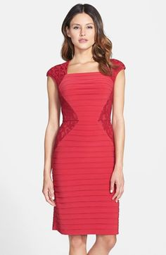 Adrianna Papell Lace Panel Shutter Pleat Sheath Dress available at #Nordstrom