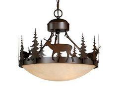 Bryce Vaxcel Deer Semi-Flush Lighting Country Lodge Rustic Fixture CF55418BBZ #Vaxcel #CottageCountryRusticLodge