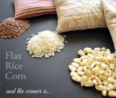 Cargas orgánicas para los cojines Calentamiento: Comparamos arroz, maíz y semilla de lino | Sew4Home