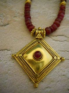 Handcrafted 22K Gold & Ruby necklace $350