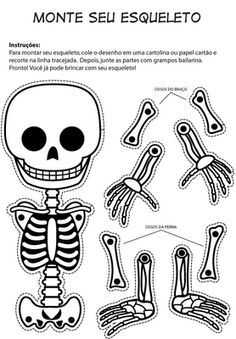 Hora de sacudir o esqueleto – Esqueleto articulado com molde Halloween is coming! How about riding this fun articulated skeleton? Theme Halloween, Halloween 2018, Holidays Halloween, Fall Halloween, Halloween Crafts, Happy Halloween, Holiday Activities For Kids, Halloween Activities, Halloween Stuff
