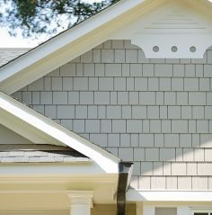 shake siding with faux dovecote gable vent Shingle Siding, House Siding, Shake Siding, Exterior Trim, Exterior House Colors, Custom Home Designs, Custom Homes, Gable Trim, Gable Decorations