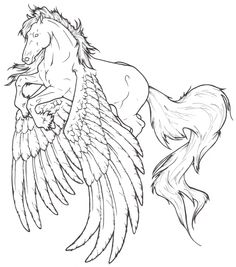 Image detail for -Friesian Flight by *ReQuay on deviantART Pegasus Fantasy Myth Mythical Mystical Legend Wings Coloring pages colouring adult detailed advanced printable Kleuren voor volwassenen coloriage pour adulte anti-stress kleurplaat voor volwassenen